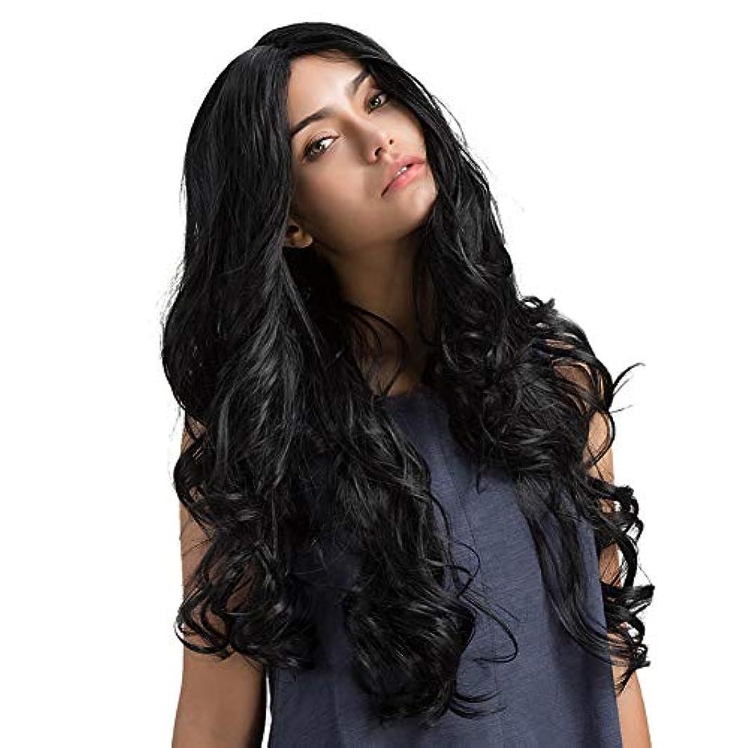 受粉者港ねばねばslQinjiansav女性ウィッグレースキャップ女性ブラックロングカーリー波状髪ウィッグレースキャップシミュレート頭皮弾性ヘアピース