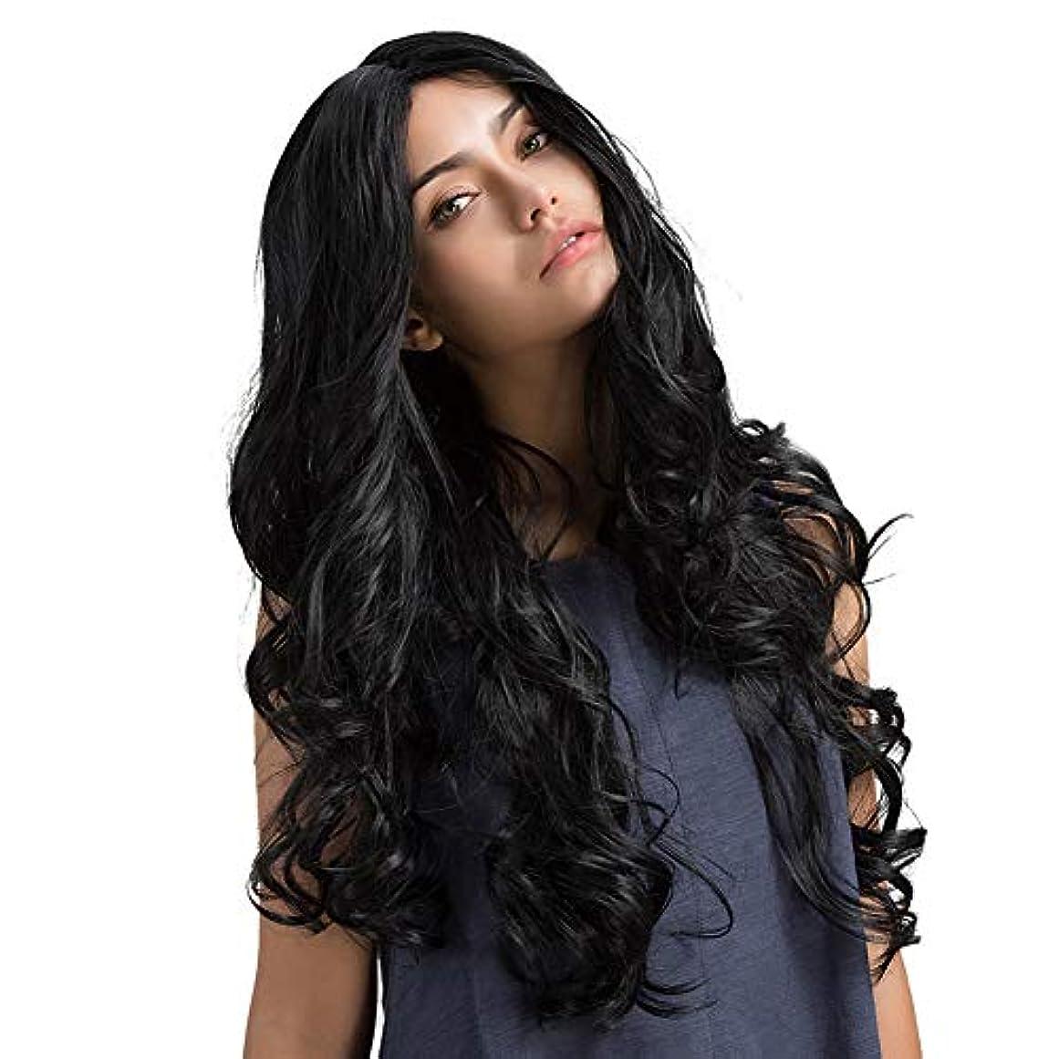 免疫する荒廃する致命的なslQinjiansav女性ウィッグレースキャップ女性ブラックロングカーリー波状髪ウィッグレースキャップシミュレート頭皮弾性ヘアピース