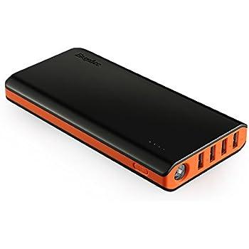 EasyAcc 20000mAh 大容量 モバイルバッテリー 4出力ポート 2入力ポート 高速充電 (ブラック&オレンジ)
