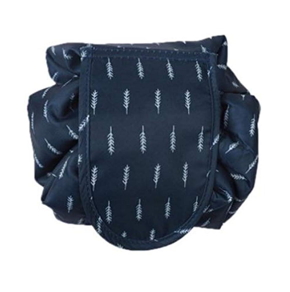 膨らみもちろんリーンメイクポーチ 怠け者化粧品ポーチ ドローストリング化粧品ポーチ 収納バッグ シンプル携帯便利化粧品バッグ 化粧品収納バッグ (ネイビー)