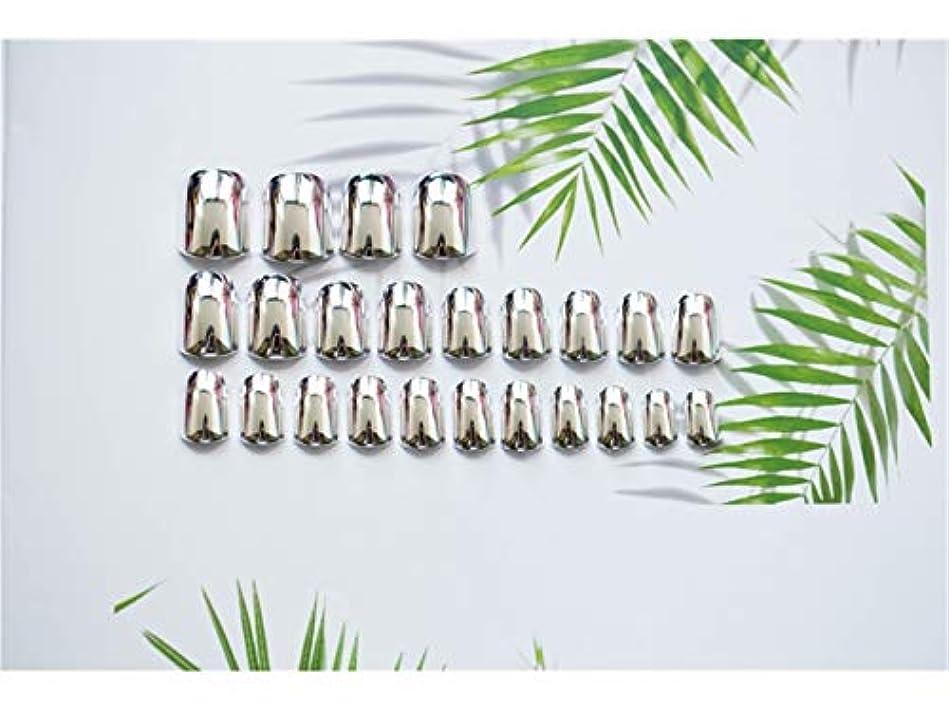 全体廃棄失効Osize 24個セット/ショートフルネイルヒント女性と女の子用の偽ネイルDIYネイルアートアクセサリー(シルバー)