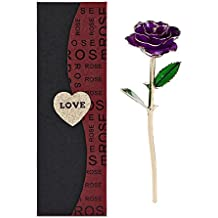New Long Stem Dipped 24k Gold Foil Trim Rose, Best Gift for Valentine's Day, Mother's Day, Anniversary, Birthday Gift, for Her