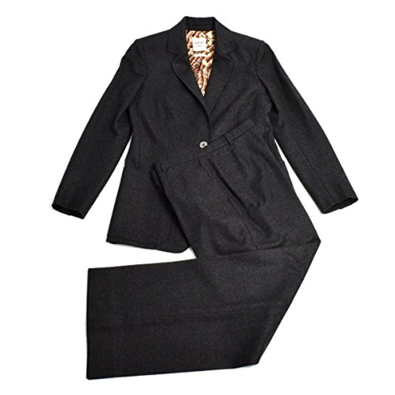 (エルメス) HERMES カシミヤ混 パンツスーツ セットアップ ジャケット ワイドパンツ ウール シルク レディース チャコールグレー 38 40 M 9-11号相当 [中古]