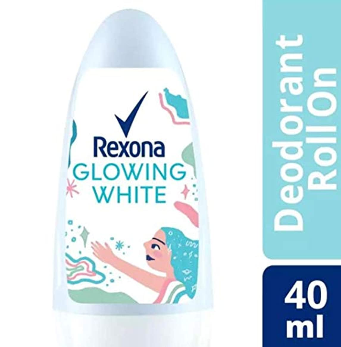 飛行機持つパスRexona レクソナ woman 制汗 デオドラント ロールオン GROWING WHITE【アルコール 0%】 ソフトなバラの香り 40ml [並行輸入品]