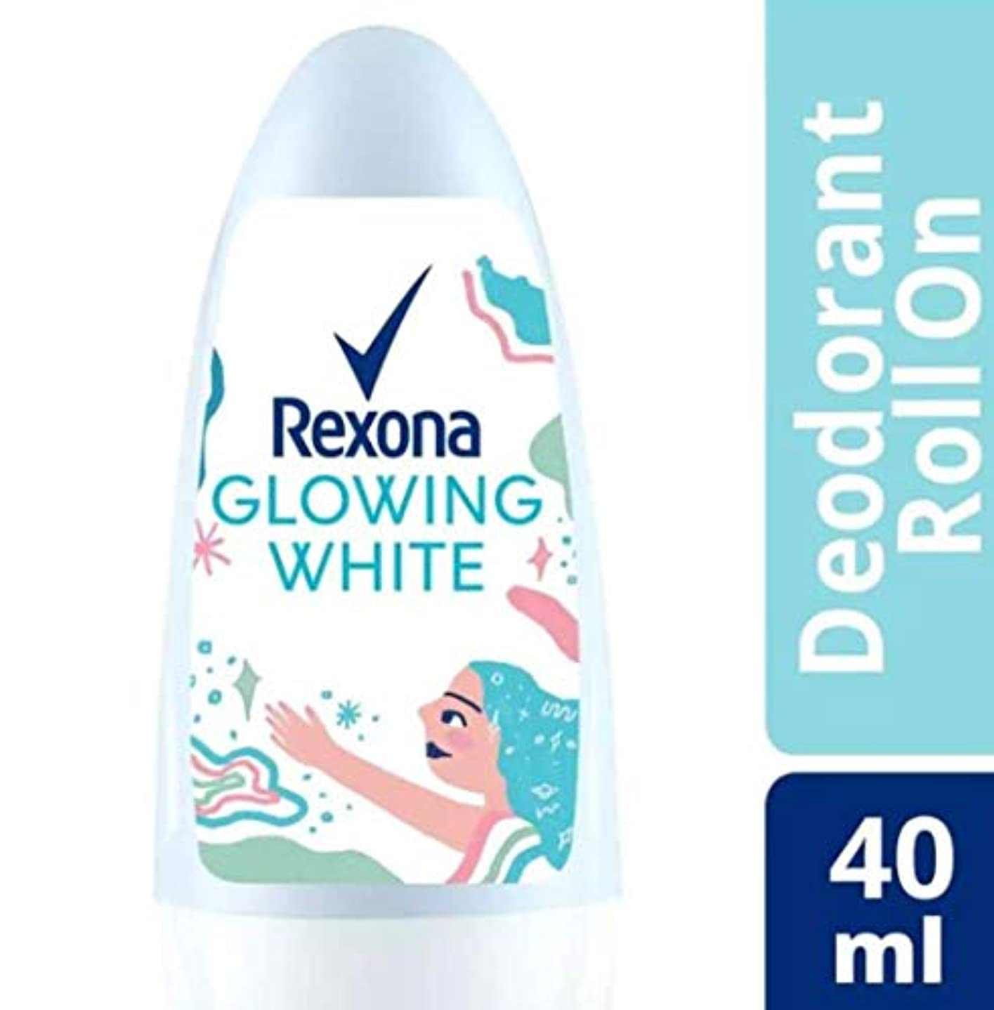 Rexona レクソナ woman 制汗 デオドラント ロールオン GROWING WHITE【アルコール 0%】 ソフトなバラの香り 40ml [並行輸入品]