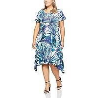 My Size Women's Plus Size Sandy Beach Palm Dress, Blue