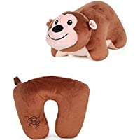 HuaQingPiJu-JP 動物の柔らかいおもちゃ変形可能なぬいぐるみの男の子と女の子のギフト(猿、コーヒー、35x30cm)のための枕Uネックの旅行枕