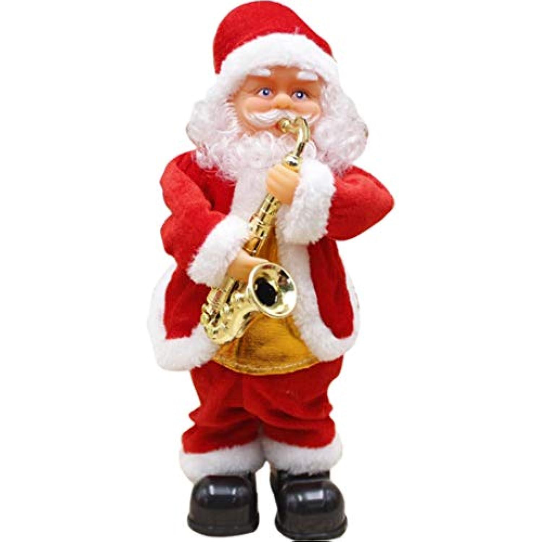 サンタクロース人形、hmaneサンタクロース図クリスマス装飾電動音楽人形with音楽とライトエフェクト( Saxophoneタイプ) – レッド+ホワイト
