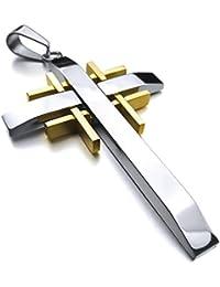 [テメゴ ジュエリー]TEMEGO Jewelry メンズポリッシュステンレススチールヴィンテージペンダントゴシッククロスネックレス、ゴールデン[インポート]