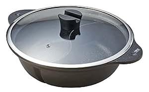 パール金属 仕切り付鍋 28cm ガラス鍋蓋付 ブラウン IH対応 マーブルダイヤモンドコート マルチテイスト HB-276