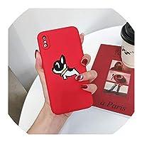 iPhone 7 XS MAX XR 8 6 6s Plus用のかわいいフレンチブルドッグ赤い電話ケースiPhone X Full Coque用のハードPCマットバックカバー、iPhone 8 Plus用、スタイル1
