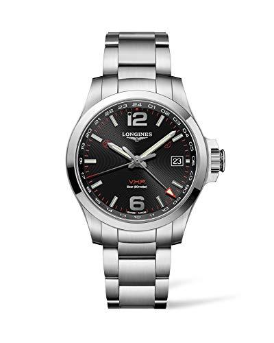 [ロンジン] 腕時計 コンクエスト V.H.P. クオーツ GMT フラッシュセッティング パーペチュアルカレンダー L3.718.4.56.6 メンズ 正規輸入品