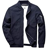 CRYSULLY Men's Spring Fall Casual Cotton Slim Fit Thin Lightweight Outwear Sportswear Bomber Jacket Coat
