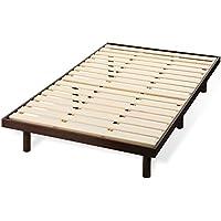 すのこベッド セミダブル ベッド フレーム 3段階 高さ調節 ロータイプ 天然木 通気性 121×201 ダークブラウン