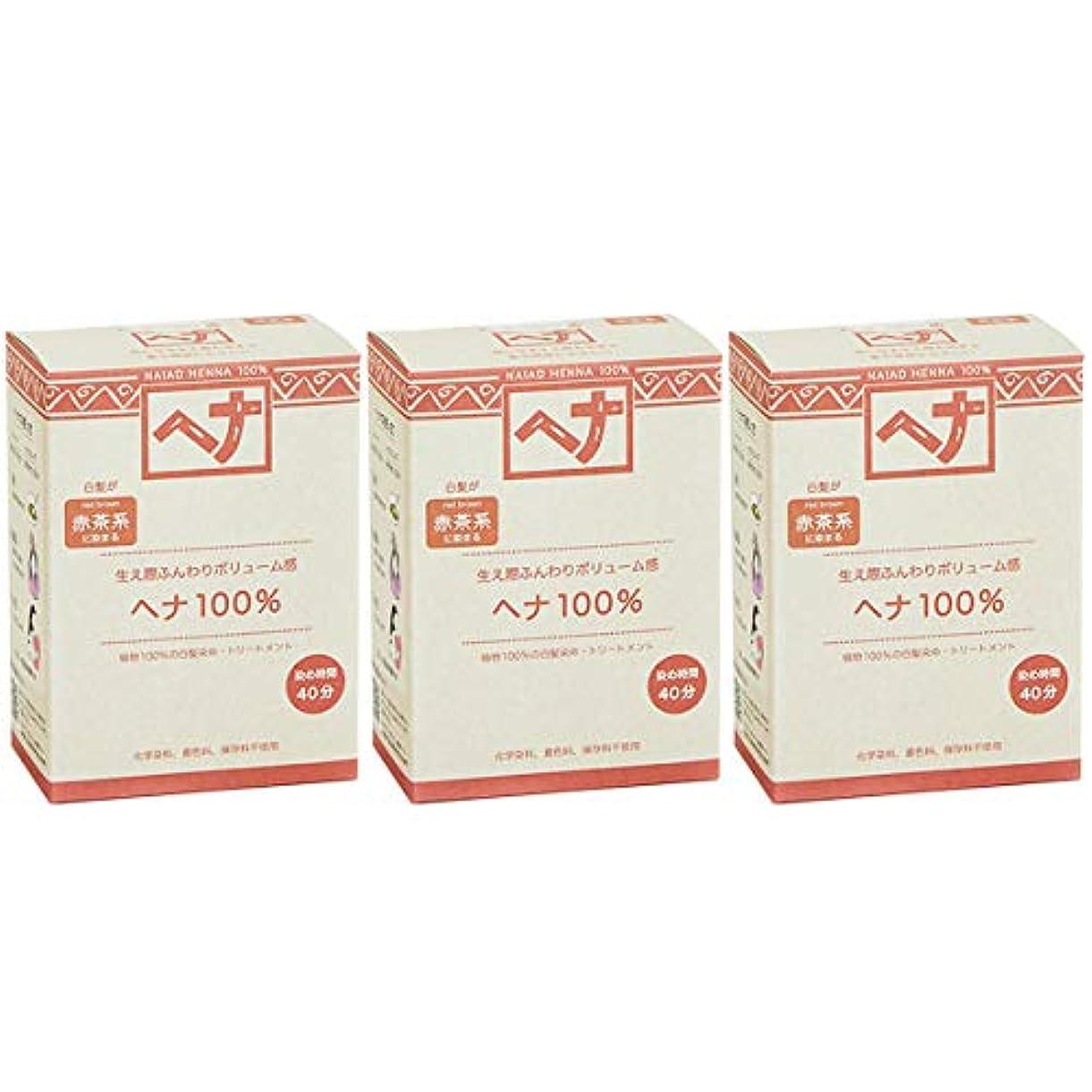 不条理閉じる夏ナイアード ヘナ 100% 赤茶系 生え際ふんわりボリューム感 100g 3個セット 白髪染め 100%植物でつくられた自然素材