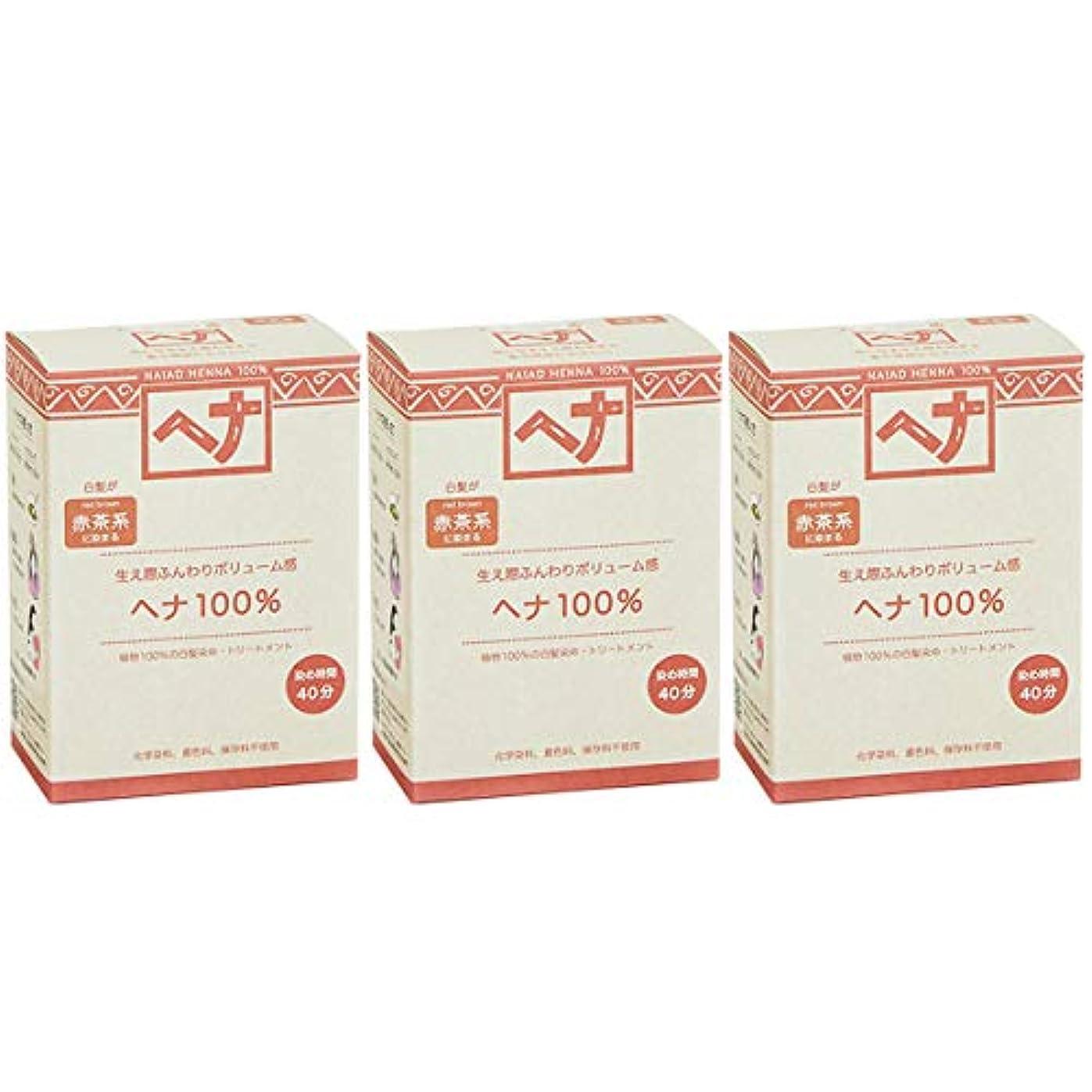 いわゆる苛性置くためにパックナイアード ヘナ 100% 赤茶系 生え際ふんわりボリューム感 100g 3個セット 白髪染め 100%植物でつくられた自然素材