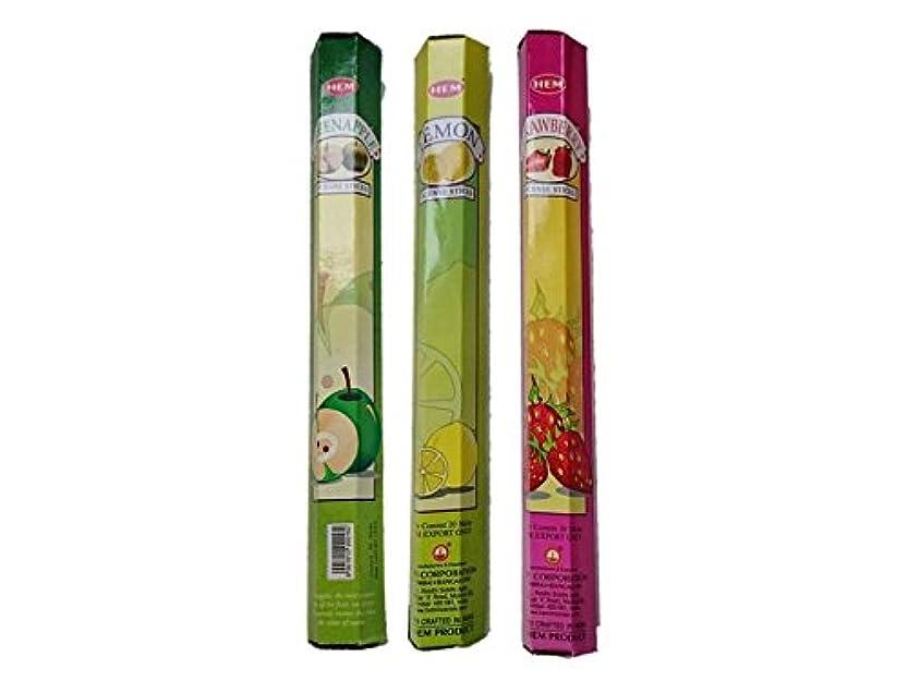 受信ほのめかすサイレントHEM(ヘム) お香スティック グリーンアップル?レモン?ストロベリー 3箱セット