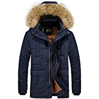 RongYue Men's Winter Thicken Coat Faux Fur Lined Quilted Jacket with Removable Fur Hood