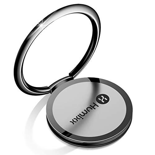 【Humixx】スマホリング 薄型 落下防止 360度回転 貼り替え可能 マグネット式車載ホルダー対応可能 (ホールドリング,ブラック)