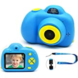 """Kids Digital Camera Rechargeable Shockproof Front and Rear Selfie Camera Camcorder Toy Holiday Gift for 3-10 Year Old Kids Boys and Girls Gift 2.0"""" LCD Screen 720P (Blue)"""