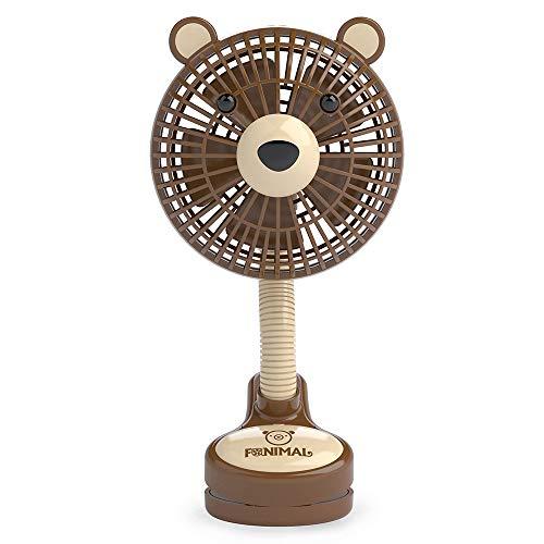 イマージ アニマル扇風機 ベビーカー扇風機 クリップ扇風機 おでかけ 携帯 ベビーカー 扇風機 電池式 コードレス(くま×ブラウン)