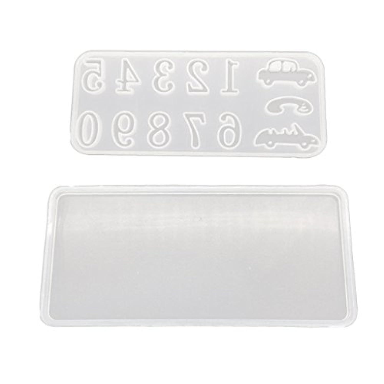 Fityle 2個入り 多機能シリコーン金型 DIY車のプレート番号 ホビー用工具 材料 樹脂 透明 耐久性 高品質