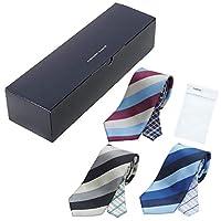 BUSINESSMAN SUPPORT(ビジネスマンサポート) メンズ ウーノ 洗えるネクタイ 3本セット (ギフトボックス付) 洗濯ネット1個付き 撥水加工 unk-box-3set レジメン