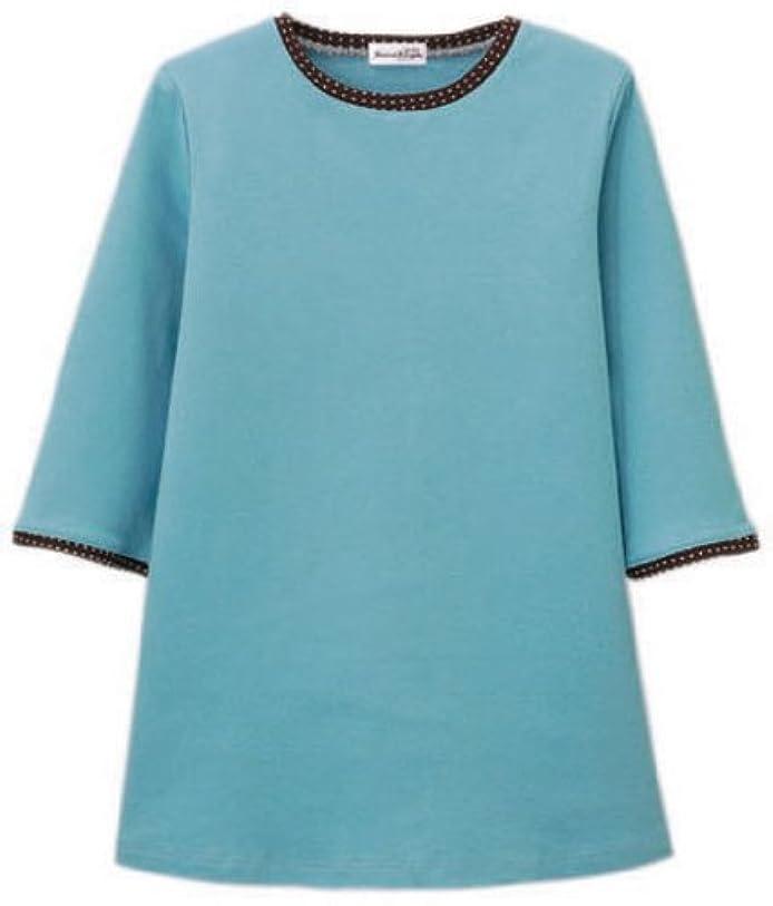 本物の異議フレット汗染み防止七分袖ゆったりプルオーバー(水玉柄) ターコイズ 3L