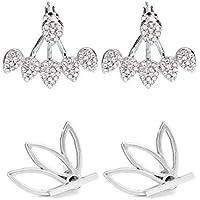 Summer Love Lotus Flower Earrings Set for Women Crystal Stud Cuff Chic Ear Jackets Earrings
