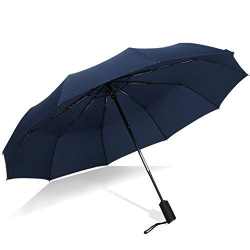折り畳み傘 ワンタッチ自動開閉 折りたたみ傘 頑丈な10本骨 - WGWJM 強化グラスファイバー傘骨 軽量楽々 耐強風 テフロン加工 超撥水 曲面118cm 大きい メンズ レディース 晴雨兼用傘 収納ポーチ付き 2年品質保証(ブルー)