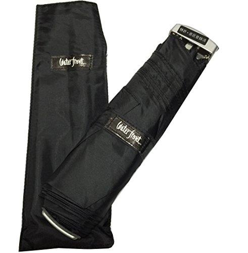 waterfront ウォーターフロント 薄型折りたたみ傘 ポケフラット 特許取得済 (Aブラック)
