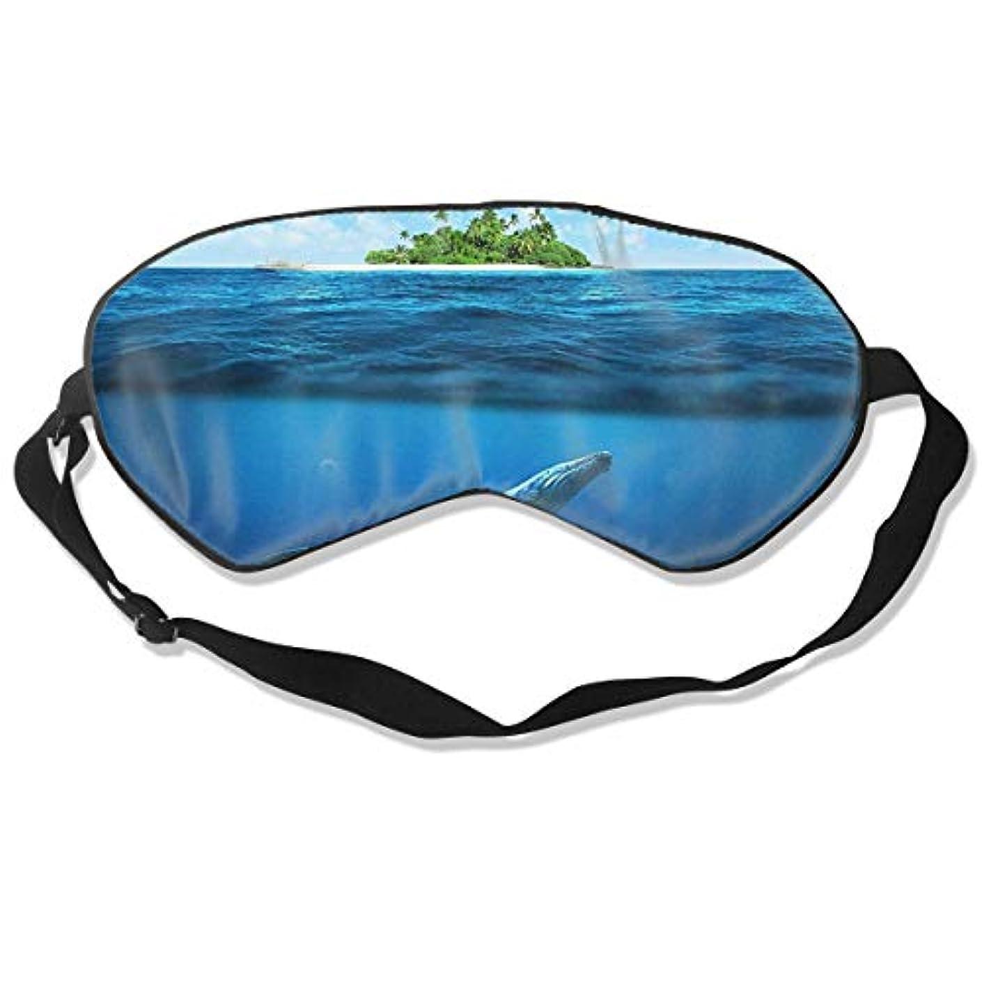スカイスライム体通気性のある睡眠マスク、簡単な睡眠、旅行、リラクゼーション、シフトワークのためのスーパーソフトアイマスク(ザトウクジラ-熱帯の島の海)