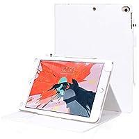 iPad Air ケース iPad Air2 ケース iPad 9.7 ケース,FYY オートスリープ機能 スタンド機能 カードポケット タッチペンホルダー付き マグネット式 ハンドメイド PU レザー 全面保護型 iPad 9.7 (2018/ 2017発売)/ipad Air/ipad Air 2通用 ホワイト