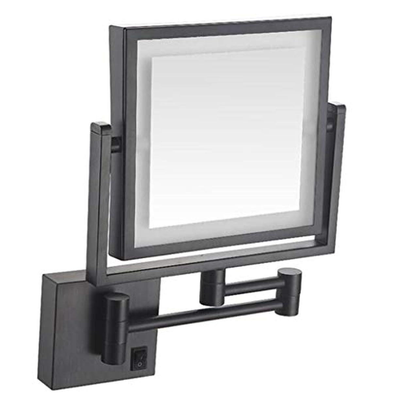 ハッチチーズ韓国語HUYYA バスルームメイクアップミラー LEDライト付き、3 倍拡大鏡 8インチ化粧鏡 シェービングミラー 壁付 バニティミラー 両面 寝室や浴室に適しています,Black_Hardwired connection
