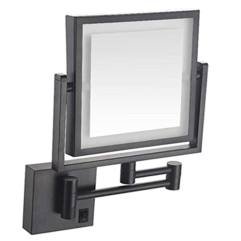 アンテナクレアうっかりHUYYA バスルームメイクアップミラー LEDライト付き、3 倍拡大鏡 8インチ化粧鏡 シェービングミラー 壁付 バニティミラー 両面 寝室や浴室に適しています,Black_Hardwired connection