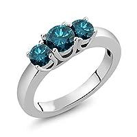 Gem Stone King 1.09カラット 天然 ブルーダイヤモンド シルバー925 指輪 リング