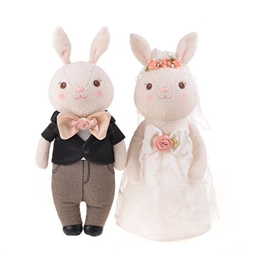 Metoo☆Tiramitu(ミートゥー☆ティラミス) ☆記念日に ウサギのぬいぐるみ ウェディングウェルカムバニー人形のカップル 15インチ+ギフトボックス+立ちスタンド