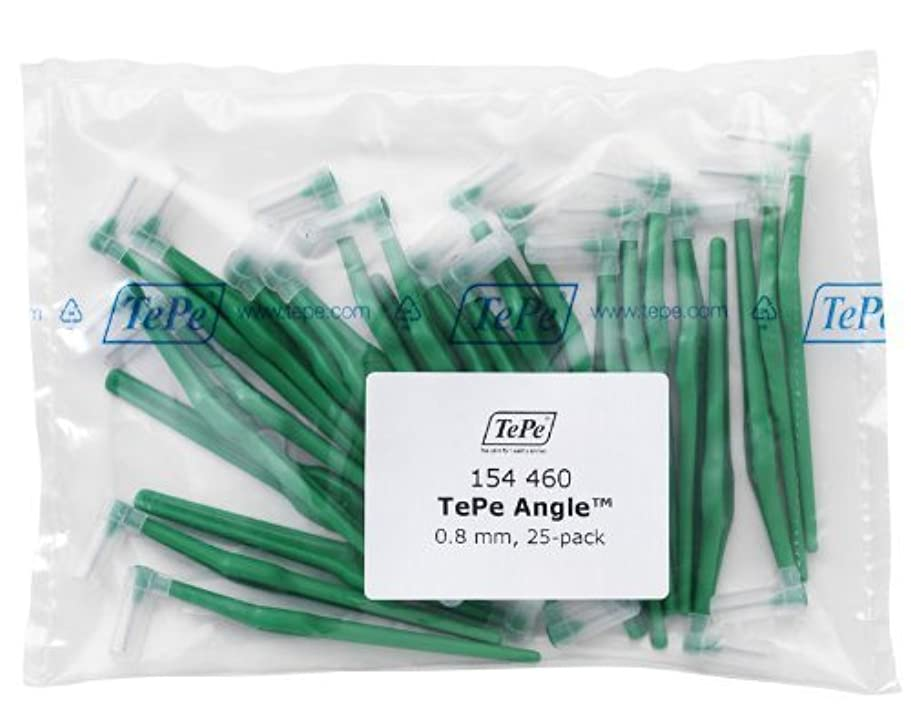 作詞家ケーブル温かいTePe Interdental Brush Angle - Green 0.8mm 25 pack by TePe Munhygienprodukter AB, Sweden [並行輸入品]