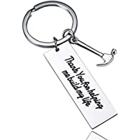BESPMOSP Thank You for Helping Me Build My Life Keychain Hammer Father's Day Keyring Dad Teacher Birthday Gift