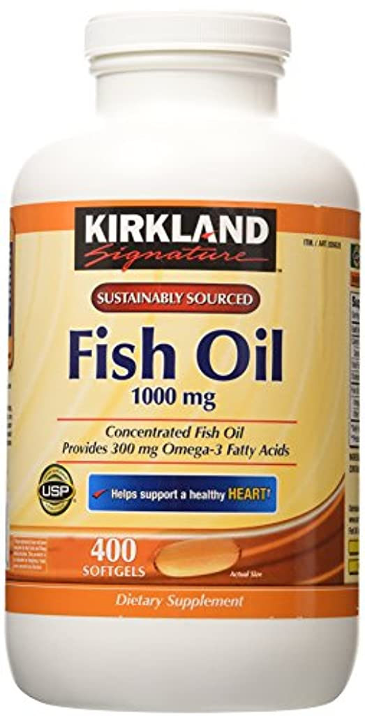地獄汚染オンスKirkland Signature Natural Fish Oil Concentrate with Omega-3 Fatty Acids, 400 Softgels, 1000mg