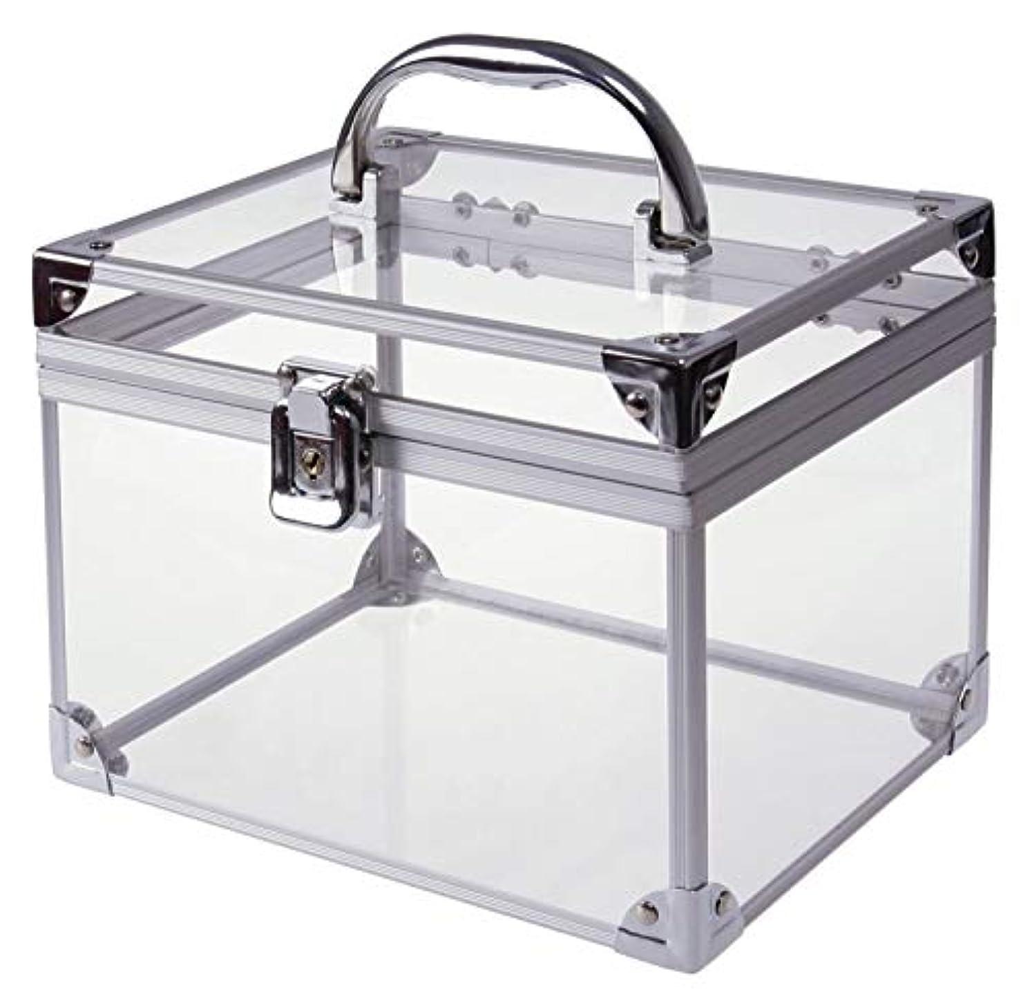 アミューズ水曜日見る[moonfarm] アクリル製 透明 工具箱 小型 ツール ケース パーツ ボックス 作業 道具 用具 入れ メイクボックス クリア スケルトン モデル (段なしタイプ)