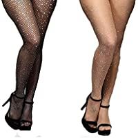 2Pairs Fishnet Stockings Rhinestone High Waist Tights Pantyhose Sparkle Glitter Crystal Small Mesh Hollow Out Stockings(Black & Beige)