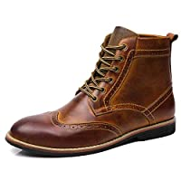 [GoldFlame-JP] ショートブーツ メンズ ビジネスブーツ シークレットシューズ ワークブーツ ウイングチップ レザー 身長UP 焦がし加工 大きいサイズ 通気 フォーマル ブラック ブラウン 2色 28cm 28.5cm