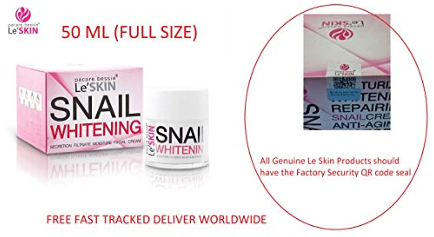 パイルギャングスター仕えるLe'SKIN Snail Whitening Secretion Filtrate Moisture Facial Cream 50 ml