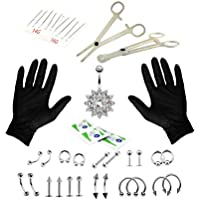 Body Piercing Kit 14G 16G Belly Ring Labret Tongue Mix Jewelry Professional Piercing Kit 1Set