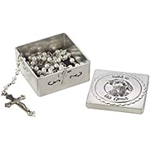 Precious Moments Set/2 Baptism Covered Box with Rosary Cream/White 2 Each