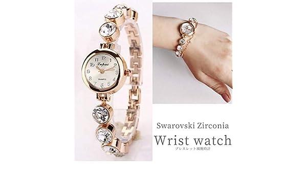 762a99c970de ... 腕時計 ブレスレット ウォッチ 可愛い 上品 おしゃれ ラインストーン 女性 誕生日 プレゼント 通勤 ピンクゴールド アナログ クオーツ:  スポーツ&アウトドア