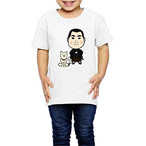 Ariesシャツ 2歳~6歳子どもTシャツ西郷隆盛 似顔絵 西郷どん 愛犬 武士 薩摩藩士 子供服 White 3 Toddler