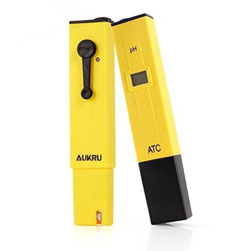 Aukru LCD デジタル PHメーター 熱帯魚飼育 アクアリウム 水族館 プール 実験室 水槽 水道等 水質検査 用 ペーハー計 測定器 校正剤 日本語マニュアル 付き