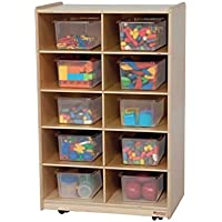 Wood Designs Kids Play Toy Book合板オーガナイザーwd16101垂直ストレージwith 10半透明トレイ